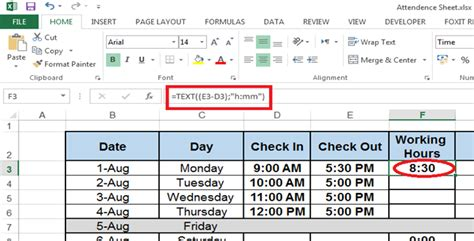 calculate difference times excel planning