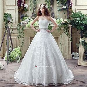 cheap cute a line strapless sweep train lace simple With cute cheap wedding dresses
