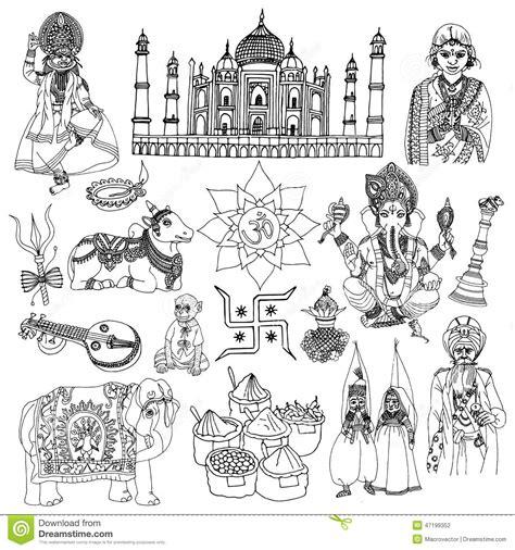india sketch set stock vector image