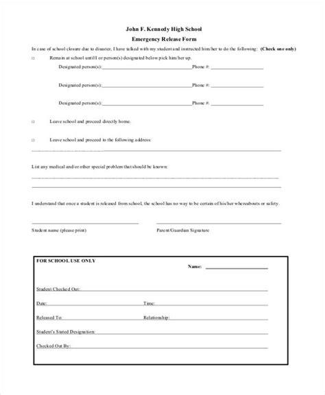 sle emergency release form