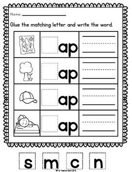 ag word family match letter and write the word free printable word family worksheets for kindergarten 28059