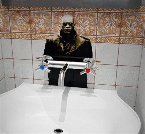 morpheus offers blue  red pills  bathroom sink