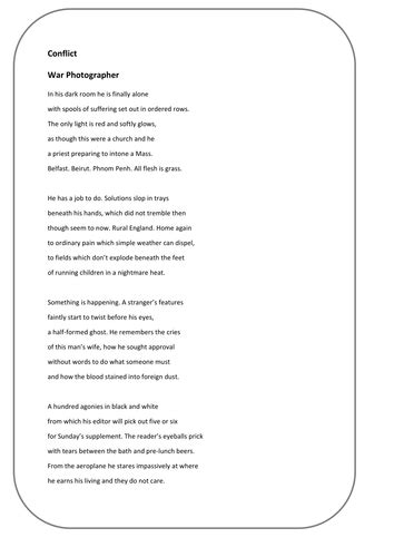 Edexcel conflict poetry 9-1 Sample assessment 2 new