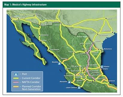 Mexico Highway Map Interstate Toll Road Modern