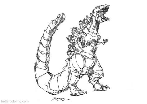 godzilla coloring pages sketch  kwmt  printable