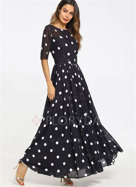 polka dot  sleeve maxi   dress floryday