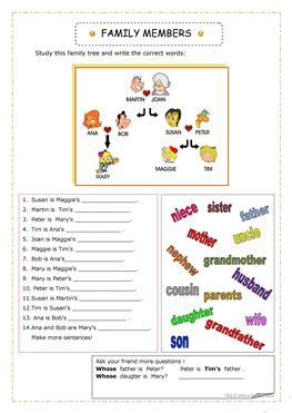 esl family worksheets