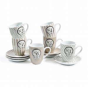 Tasse à Café Maison Du Monde : coffret 6 tasses caf avec soucoupes en porcelaine beiges mode maisons du monde ~ Teatrodelosmanantiales.com Idées de Décoration