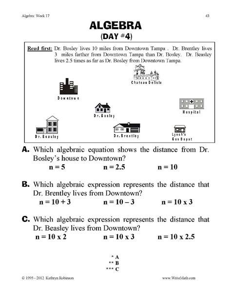 Algebra Practice Worksheets  3rd, 4th, 5th Grade