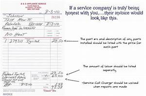 refrigerators parts refrigeration service With appliance repair invoice