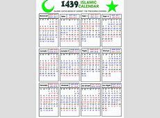 Islamic Calendar 2018 Hijri Calendar 1439 Muslim