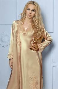 long gold satin and lace negligee and nightgown set sophia With robe nuisette dentelle