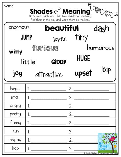shades of meaning tons of other great printables 2nd grade 2nd grade grammar shades of