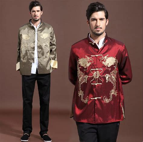 2018 Traditional Chinese Clothing Autumn New 2015 Menu0026#39;S Outerwear Spring Vintage Dragons Long ...