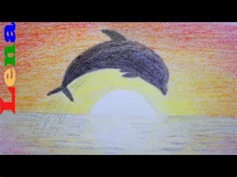 sonnenuntergang malen mit delfin   draw sunset
