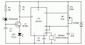 Simple Photodiode Alarm Circuit Diagram