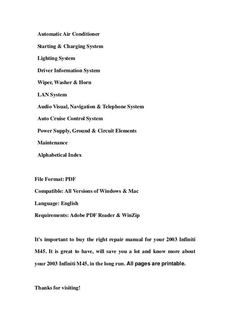service manuals schematics 2003 infiniti m parking system 2003 infiniti m45 service repair workshop manual download