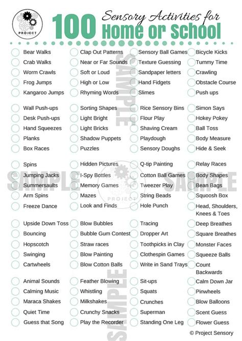 100 Sensory Activities for Home or School {Free Printable