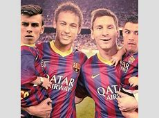Neymar Jr and Lionel Messi carrying Bale and Cristiano