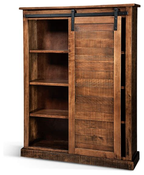 carriage house barn door bookcase rustic bookcases