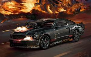 Black guns cars explosions digital art artwork death race ...
