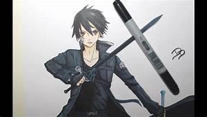 Drawing Kirito From Sword Art Online  U30ad U30ea U30c8