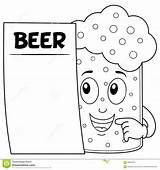 Beer Coloring Menu Character Glass Blank Cartoon Illustration Colouring sketch template