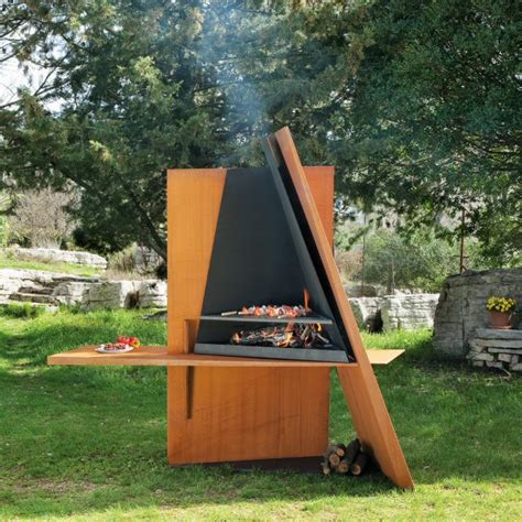 barbecue outdoor design cool outdoor bbq grill made of wood and steel digsdigs