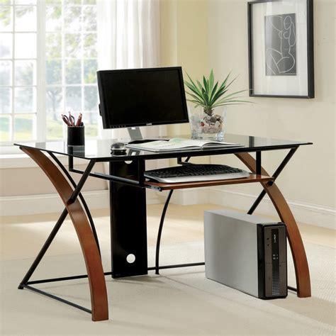 tempered glass computer desk furniture of america sirga modern grey tempered glass