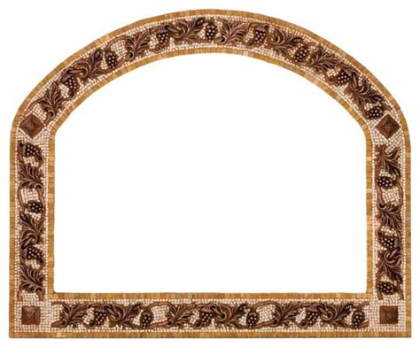Stone Mosaic Mirror Frame With Metal Inlay