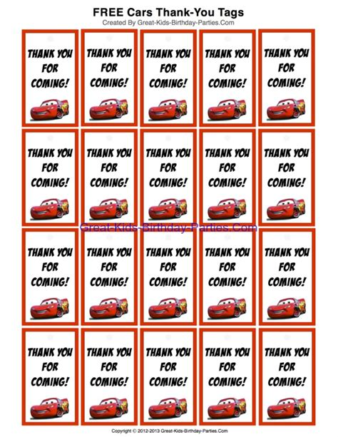 tag theme ideas for 1st birthday party for boy free printable disney cars thank you tags for party favors
