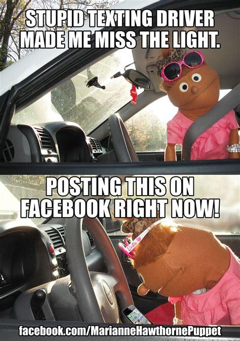 Texting And Driving Meme - texting and driving meme comedy https www facebook com mariannehawthornepuppet driving