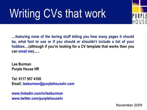 Writing Cvs by Writing Cvs That Work
