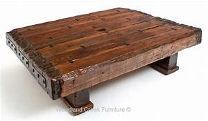 Wood beam coffee table massive reclaimed timbers solid for Wood beam coffee table