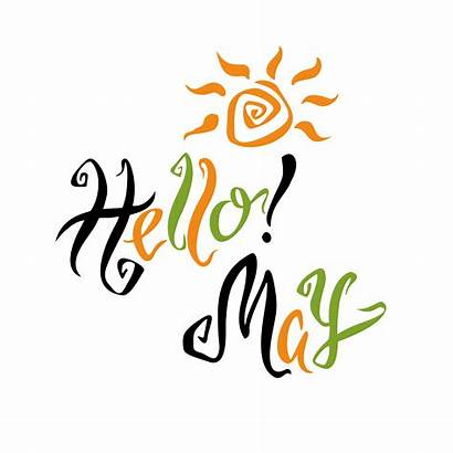 Month Hello Spring Vector Lettering Greeting Clipart