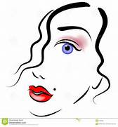 An abstract art portrait of a woman s face in black outlines and      Beautiful Lady Face Clip Art