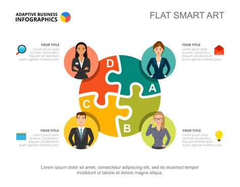 business infographics  jigsaw chart  team icons