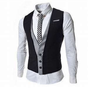 black new 2014 fashion design men slim patshwork color With mens dress vests wedding