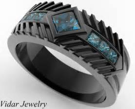 black gold mens wedding rings mens wedding band black gold princess cut blue diamonds vidar jewelry unique custom