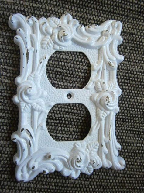 shabby chic outlet shabby white chic outlet cover plate wallplate victorian style