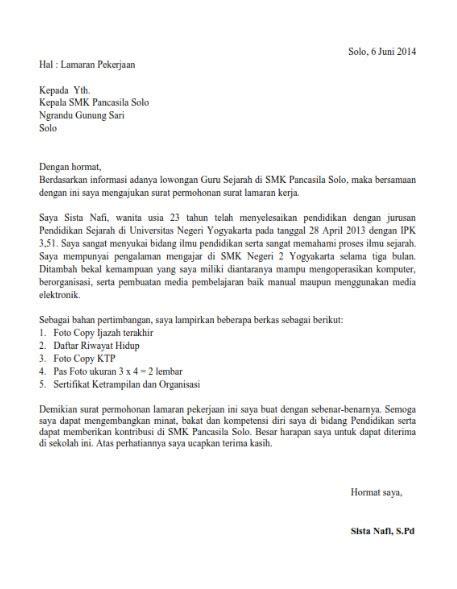 Contoh Kepala Surat Lamaran Kerja contoh surat lamaran kerja guru yang baik dan benar lengkap