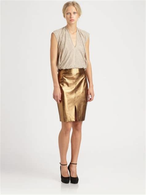 Lagence Metallic Leather Pencil Skirt In Gold Copper Lyst