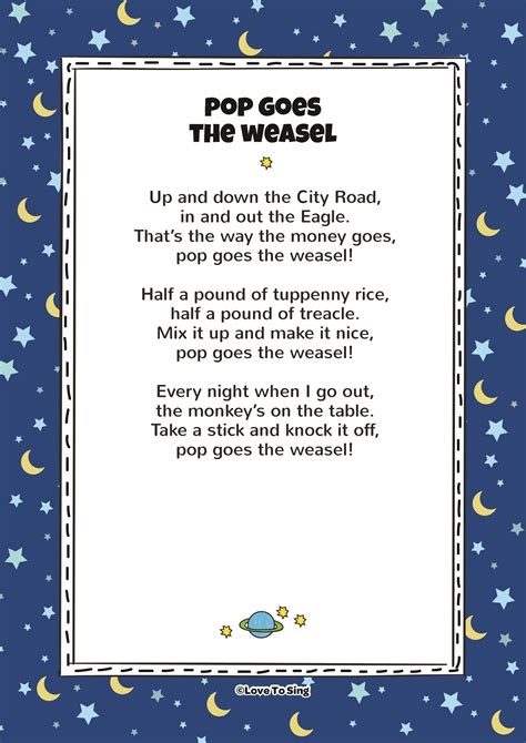 pop   weasel kids video song   lyrics