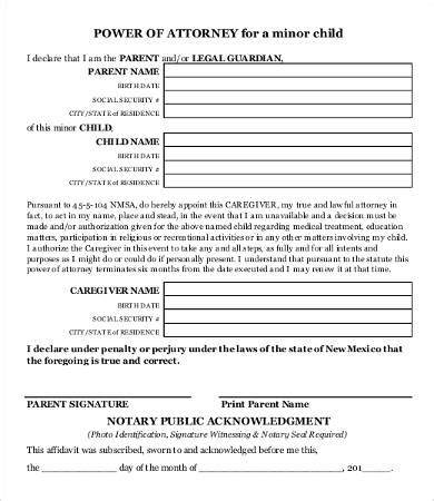power  attorney form  printable   word