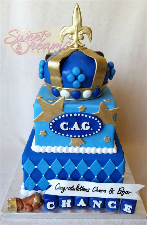 king themed baby shower cake square blue  gold