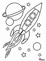 Space Coloring Planets Rocket Stars Outer Bubakids sketch template