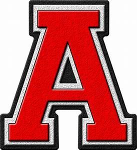 Presentation Alphabets: Scarlet Red Varsity Letter A