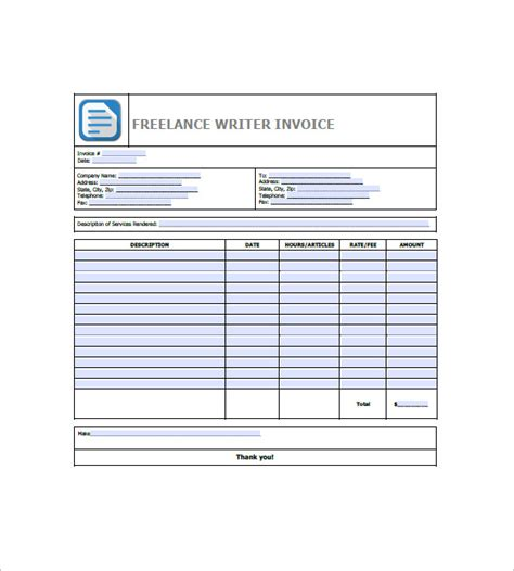 freelancer invoice template   word excel