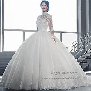 Turkey sheer high neck ball gown wedding dresses long for Long sleeve ball gown wedding dress