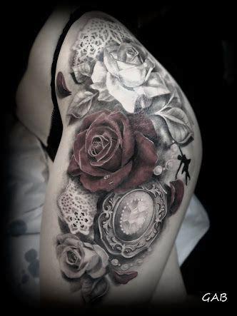 black  white roses diamond  clock tattoo google search tattoo ideas trendy tattoos